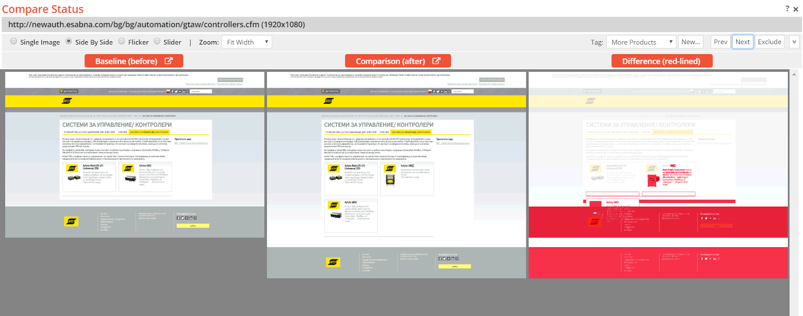 A submenu item beneath the ESAB yellow banner was not rendered correctly