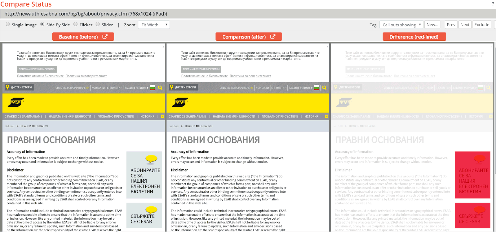Bulgarian page where the light blue Call to Action callouts in the right-side column were missing
