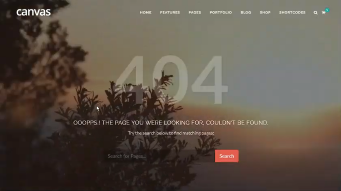 Screenshot of the 404 page with a video playing in the background