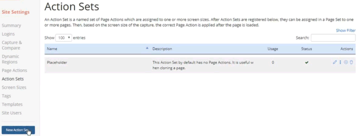 Screenshot of the Page Set Actions page