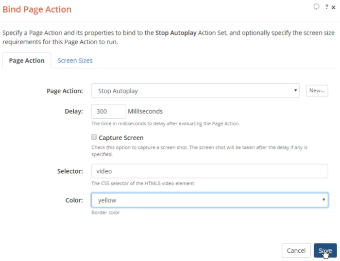 Bind Page Action dialog to bind the Action to the Action Set