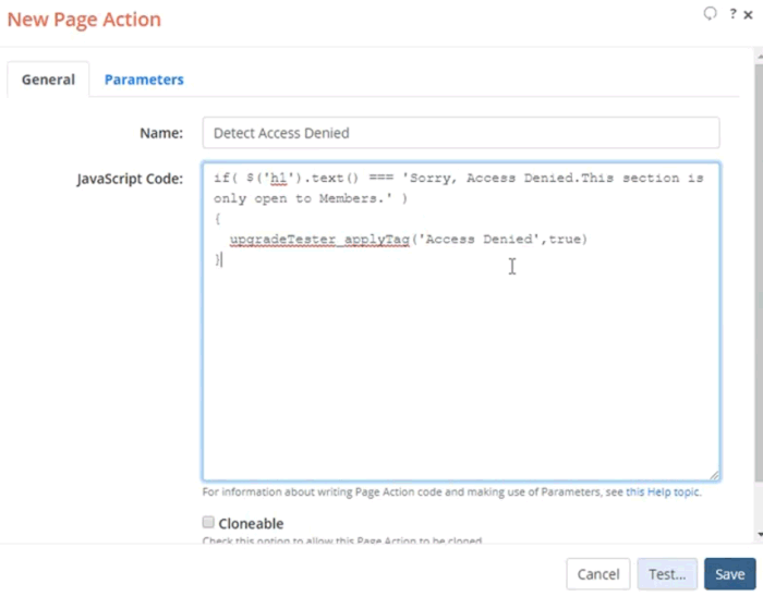 New Page Action dialog with the JavaScript code to detect members only page to assign Tag to it
