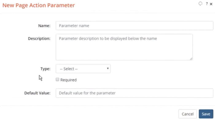 Screenshot of the New Page Action Parameter dialog
