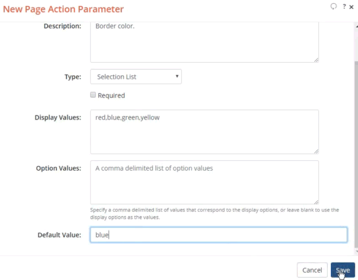 Screenshot of New Page Action Parameter dialog filled in.