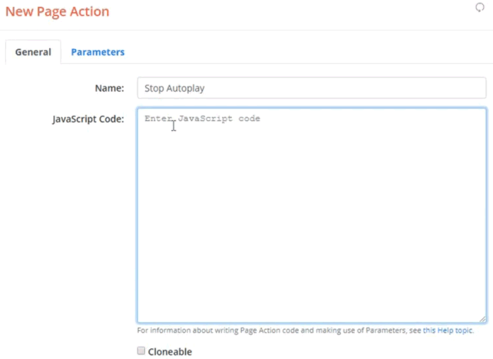 Screenshot of the New Page Action dialog entering Stop Autoplay