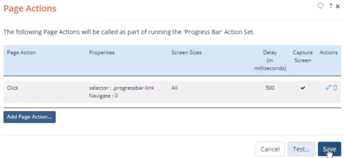 Screen shot of the Page Actions page with one Click action