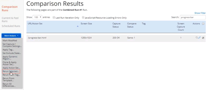 Screenshot of the Comparion Results page kicking off a rerun