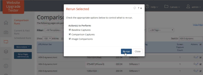 Rerun Selected dialog with Baseline Captures, Comparison Captures and Image Comparisons selected