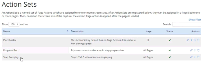 Action Sets page showing the new Stop Autoplay set