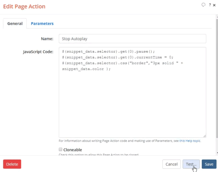 Screenshot of Edit Page Action dialog with Stop Autoplay JavaScript code