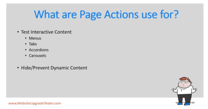 Screenshot of graphic depicting what a page action is used for.