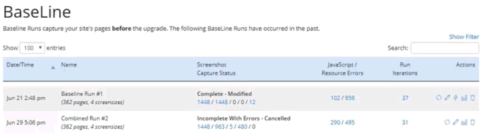 Screenshot of the Baseline Runs page showing 2 runs