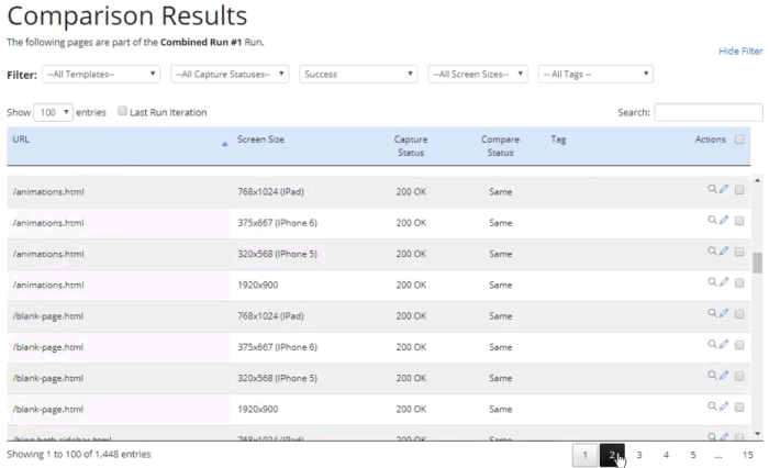 Screenshot of the Comparison Runs page showing page results of the run